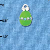C5527+ tlf - Lime Green Easter Egg with Multicolored Crystal Band - Silver Plated Charm