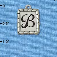 C5540+ tlf - Pebble Border Initial - B - Silver Plated Charm Jewelry Findings