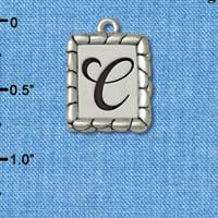 C5541+ tlf - Pebble Border Initial - C - Silver Plated Charm Jewelry Findings