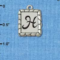 C5546+ tlf - Pebble Border Initial - H - Silver Plated Charm Jewelry Findings