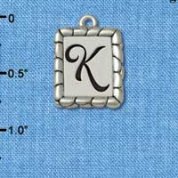 C5549+ tlf - Pebble Border Initial - K - Silver Plated Charm Jewelry Findings