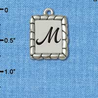 C5551+ tlf - Pebble Border Initial - M - Silver Plated Charm Jewelry Findings