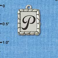 C5554+ tlf - Pebble Border Initial - P - Silver Plated Charm Jewelry Findings