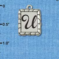 C5559+ tlf - Pebble Border Initial - U - Silver Plated Charm Jewelry Findings