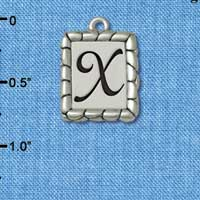 C5562+ tlf - Pebble Border Initial - X - Silver Plated Charm Jewelry Findings