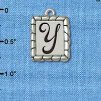 C5563+ tlf - Pebble Border Initial - Y - Silver Plated Charm Jewelry Findings
