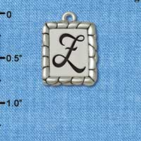 C5564+ tlf - Pebble Border Initial - Z - Silver Plated Charm Jewelry Findings