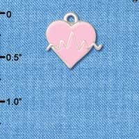 C5567+ tlf - Pink Enamel Heart with Pulse Sign - Silver Plated Charm Jewelry Findings