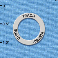 C5658 tlf - Teach Inspire Guide - Affirmation Ring - Silver Plated Charm