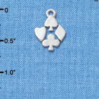 C5716 tlf - Silver Card Suits - Silver Plated Charm