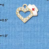 C5818 tlf - Small Crystal Heart with Nurse Hat - Gold Plated Charm