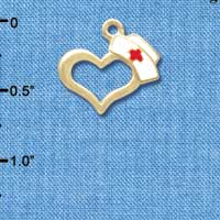 C5819 tlf - Open Heart with Nurse Hat - Gold Plated Charm