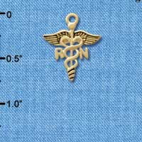 C5820 tlf - Registered Nurse Caduceus - Gold Plated Charm
