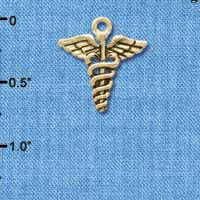 C5823 tlf - Caduceus - Gold Plated Charm