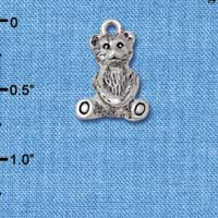 C5826+ tlf - Teddy Bear - 3-D - Silver Plated Charm