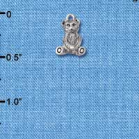 C5831+ tlf - Mini Teddy Bear - 3-D - Silver Plated Charm