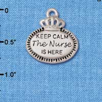 C5930+ tlf - Keep Calm The Nurse is Here - Silver Plated Charm