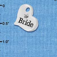 C5981 tlf - Large Bride Heart - Silver Plated Charm