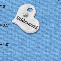 C5983 tlf - Large Bridesmaid Heart - Silver Plated Charm