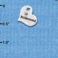 C5984 tlf - Small Bridesmaid Heart - Silver Plated Charm
