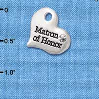 C5985 tlf - Large Matron of Honor Heart - Silver Plated Charm