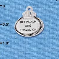 C5995+ tlf - Keep Calm and Travel On - Silver Plated Charm