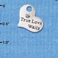 C6078+ tlf - Large True Love Waits Heart - Silver Plated Charm