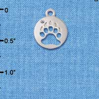 C6089+ tlf - Bear Paw Cutout Disc - Silver Plated Charm