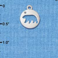 C6091+ tlf - Bear Cutout Disc - Silver Plated Charm
