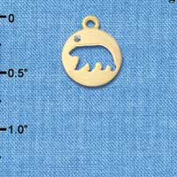 C6092+ tlf - Bear Cutout Disc - Gold Plated Charm