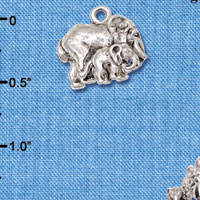 C6304+ tlf - Loved Elephant with Baby - Silver Plated Charm