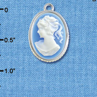 C6401 tlf - Small Blue Oval Cameo Cabochon - Silver Plated Charm