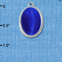C6500 tlf - Small Blue Imitation Cat's Eye Glass Cabochon - Silver Plated Charm