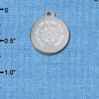 C6504-D tlf - Engraved Snowflakes are kisses from Heaven - Stainless Steel Charm