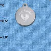 C6504-H tlf - Engraved Happy Hanukkah Menorah - Stainless Steel Charm