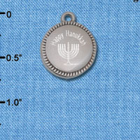 C6505-H tlf - Engraved Happy Hanukkah Menorah on Flange - Stainless Steel Charm