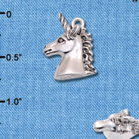 C6598+ tlf - 3-D Unicorn Head - Silver Plated Charm