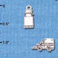C6599+ tlf - 3-D Ambulance - Silver Plated Charm