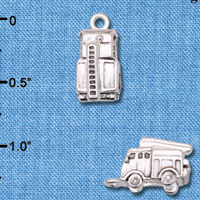 C6600+ tlf - 3-D Fire Engine - Silver Plated Charm (2 per package)