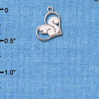 C6604+ tlf - Squirrel in Heart - Silver Plated Charm
