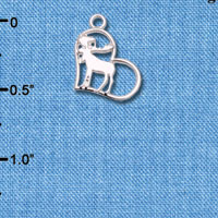 C6605+ tlf - Moose in Heart - Silver Plated Charm