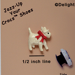 CROC - 3352* - Scottie White Bow Red - Mini - Clog Shoe Decoration Charm