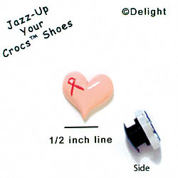 CROC-5621 - Pink Heart with Pink Ribbon - Clog Shoe Decoration Charm