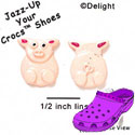 CROC - 0660 - Pig - Front & Back - 2 Assorted - Clog Shoe Decoration Charm
