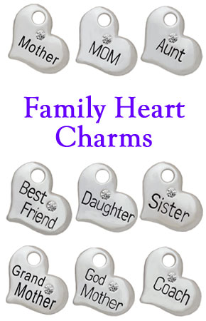 Family Heart Charms