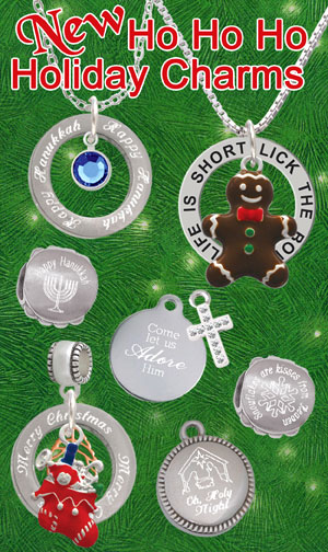 engraved christmas and hanukkah charms and beads