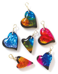 dichroic heart charms