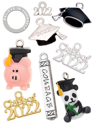 silver graduation Charms
