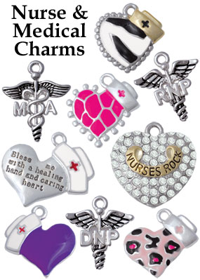 silver plated nurse charms