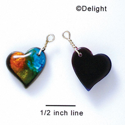 DC1014* - Blue, Green, and Yellow Large Heart - Resin Dichroic Charm (Left or Right)